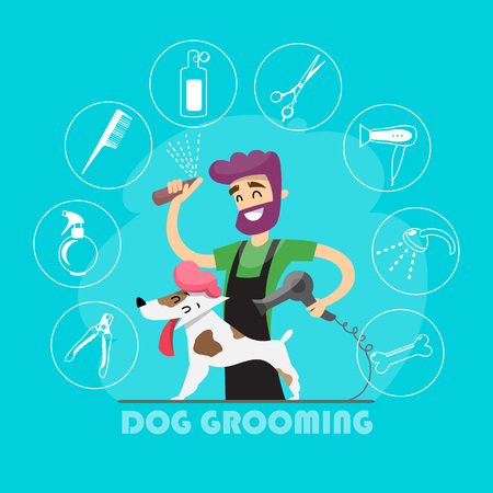 Cute dog at groomer salon and set of icons. 일러스트