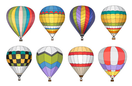 Hot air balloon vector icons set.