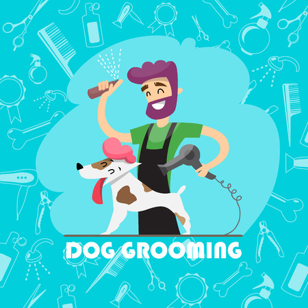 Cute dog at groomer salon and set of icons. 矢量图像