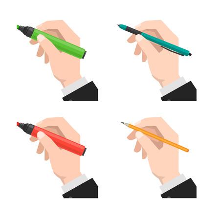 set of hands holds the marker, pen and pencil Vector illustration. Illustration