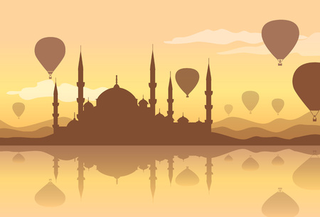 A hot air balloon vector backgraund isolated on plain background. 向量圖像