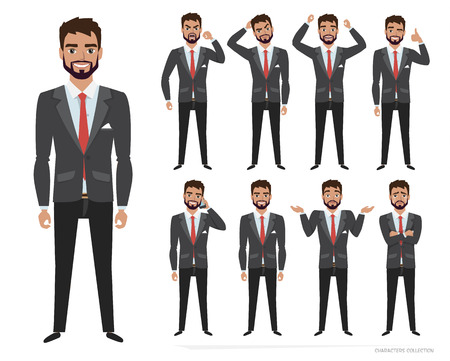 Set of emotions and poses for business man. Male in a cartoon style experiences different emotions
