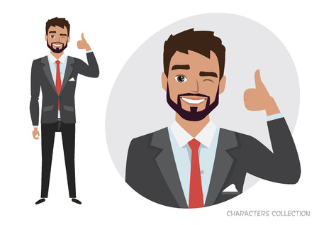 Positive guy smiling and recommended. Laughing man showing thumbs up