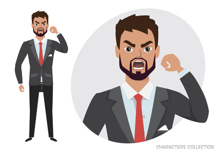 The evil man threatens with his hand. Angry men. Negative Emotions. Bad Days. Bad Mood Stressful men