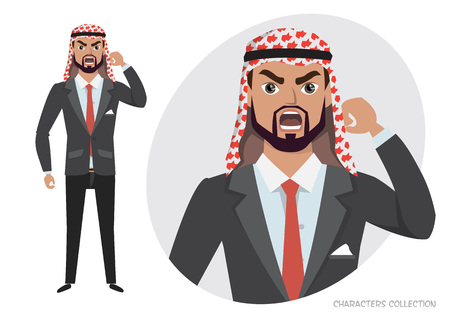 The mad Arab businessman character threatens with his hand, negative emotions. Ilustração