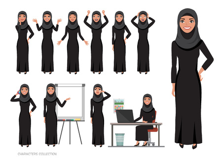 Arab women character set of emotions. Arabian woman with hijab