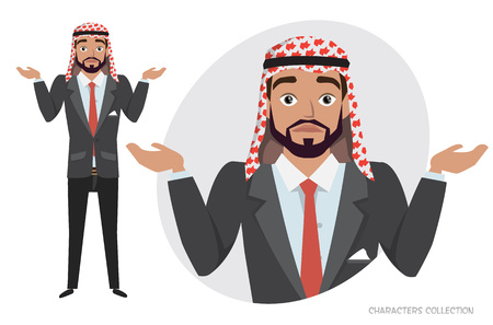 Young Arab Man character doubt. Emotion of uncertainty and confusion on mans face in Cartoon style.