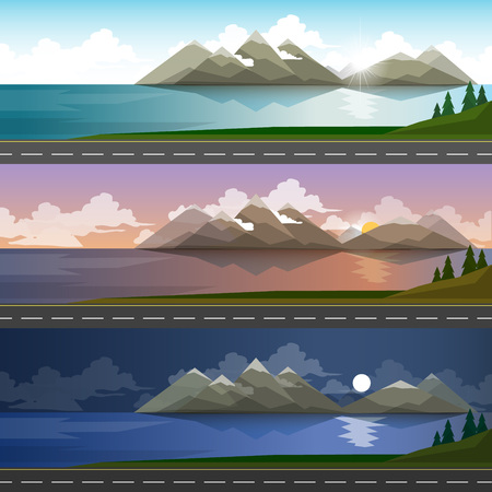 The landscape of forests, mountains, road and lake. day, night and sunset 矢量图像