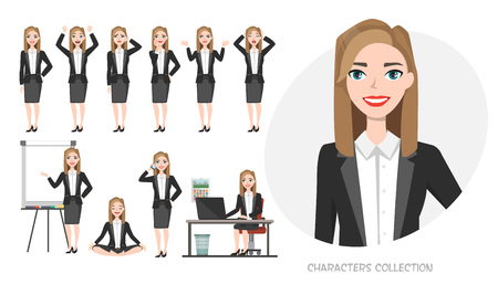 Set of emotions and poses for business woman. Young girl in office suit experiences different emotions and poses