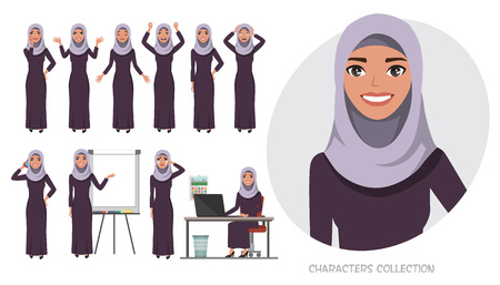 Arabic business woman.Young girl in a cartoon style experiences different emotions and poses. Set of emotions and poses