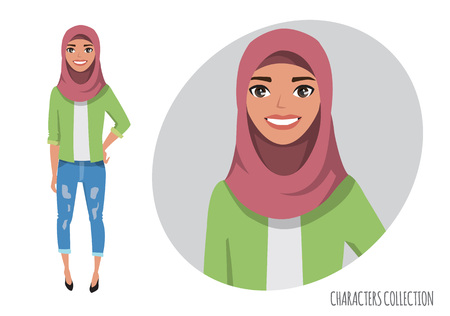 Muslim women character is happy and smiling. Muslim young woman wearing hijab.