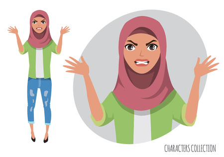 The evil Muslim women character threatens with his hand. Muslim young woman wearing hijab.