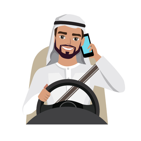 Man driving a car while talking on the phone Illustration
