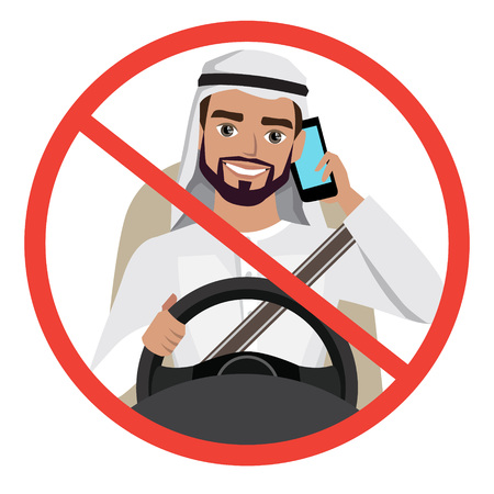 man driving a car talking on the phone. sign stop danger Vector illustration. Ilustração