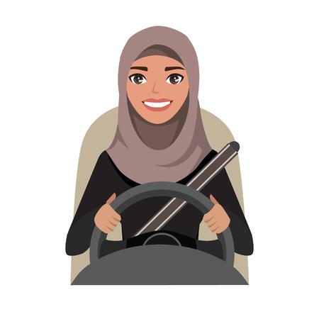 Arab businesswoman driving a car. Arab woman wearing hijab. Vector cartoon character