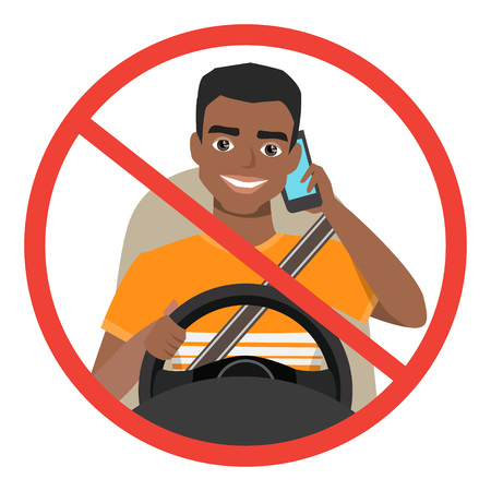 Black african american man driving a car talking on the phone. sign stop danger