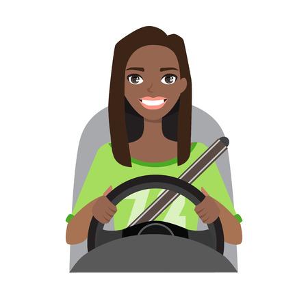 Mujer afroamericana negra conduciendo un coche. Ilustración de vector