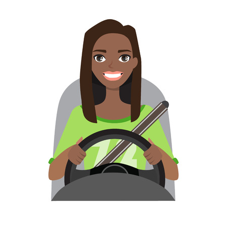 Black african american woman driving a car.