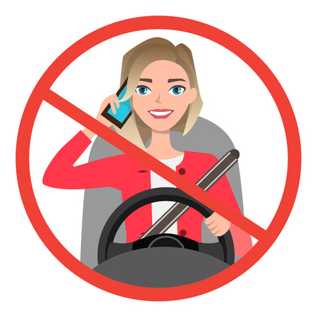 Woman driving a car talking on the phone. sign stop danger. Vector cartoon character Vettoriali