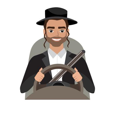Man driving a car illustration.