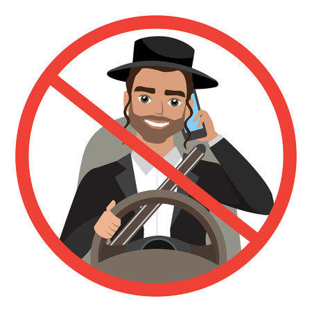 jew man driving a car talking on the phone. sign stop danger