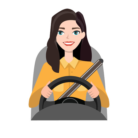 Woman in casual clothes driving a car illustration.