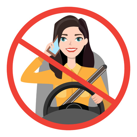 Woman driving a car talking on the phone, warning sign icon.
