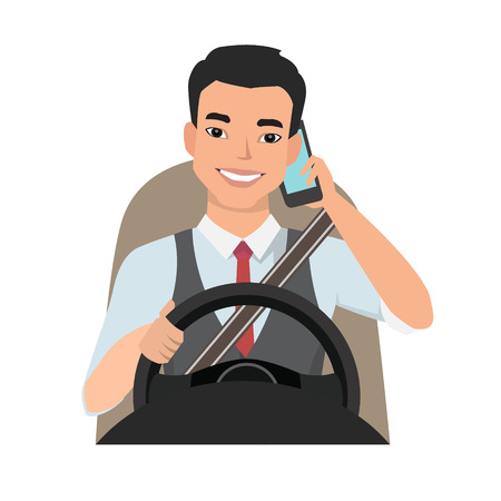 asian man driving a car talking on the phone Vector illustration.
