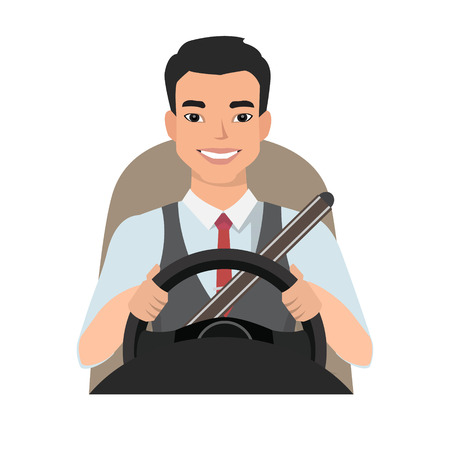 asian man driving a car. man clothing in casual cloth Ilustração