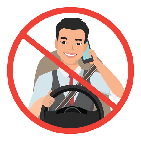asian man driving a car talking on the phone. sign stop danger. Vector cartoon character Illustration
