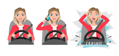 Woman holding mobile phone while driving car and crashes.