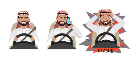 vector illustration of Arab man driving a car, Arab man driving a car talking on the phone, Arab man had an accident.