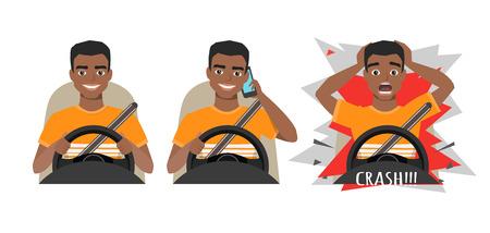 Zwarte Afro-Amerikaanse man besturen van een auto. man besturen van een auto praten aan de telefoon. De man heeft een ongeluk gehad.