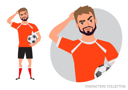the football player is pensive, thinking. Portrait of handsome young thoughtful soccer player. Vector character in cartoon style