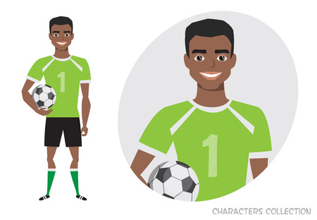 black african american Football character. Soccer player