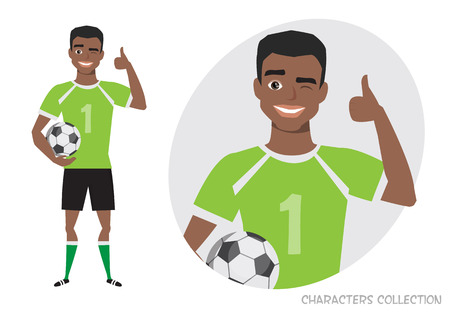 Positive black african american soccer player smiling and recommended. Laughing football player showing thumbs up. Illustration