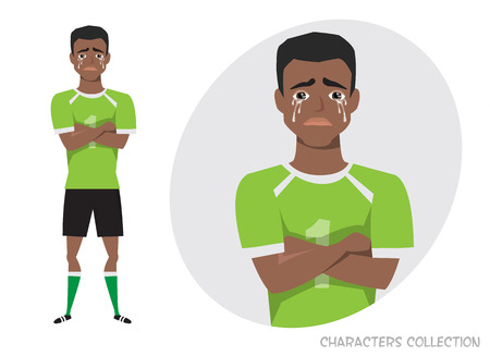 The black african american football player crossed his arms and cries. Mans tears and depression. The emotion of disappointment and sadness at the soccer player face. The male was crying Reklamní fotografie - 99333963