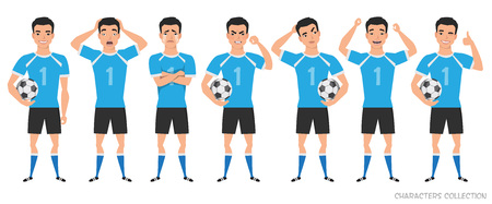 Footballer character constructor. asian soccer player different postures, emotions set