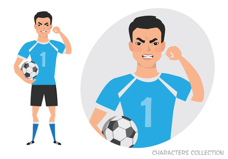 The evil Asian soccer player threatens with his hand. Angry football player. Negative Emotions. Bad Days. Bad Mood Stressful men.