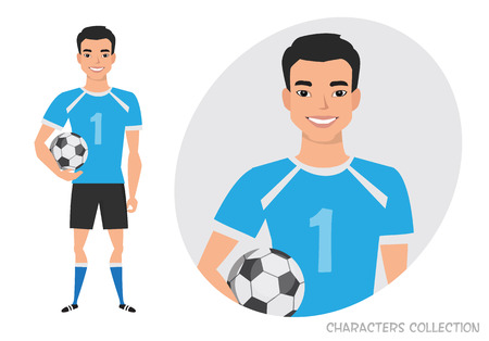 Asian Football character. Soccer player