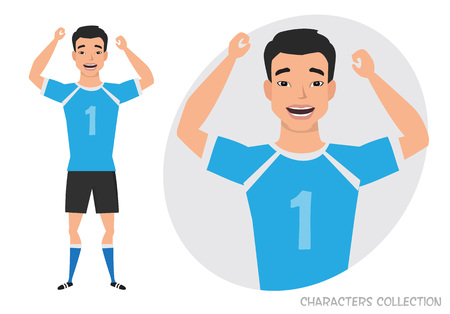 Asian football character. Soccer player. Emotion of joy and glee on the man face.  イラスト・ベクター素材