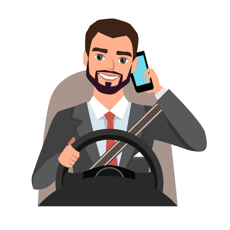 businessman driving a car talking on the phone