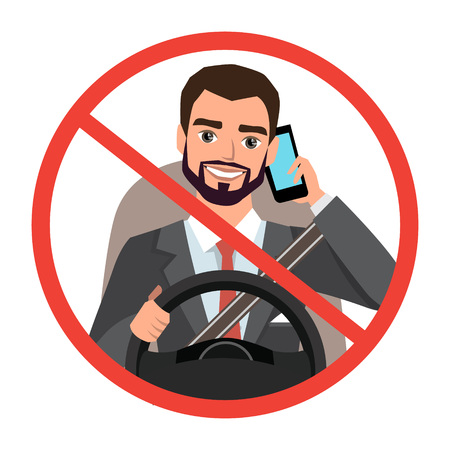businessman driving a car talking on the phone. sign stop danger