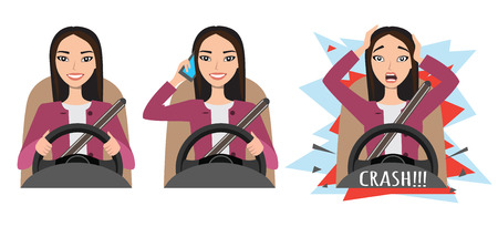 asian woman driving a car. woman driving a car talking on the phone. The woman had an accident. crash
