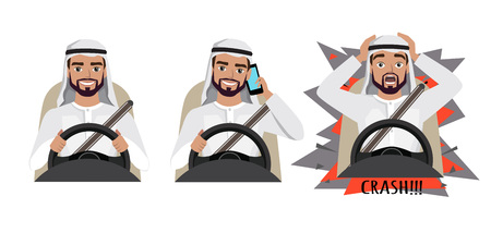 Arab man driving a car. man driving a car talking on the phone. The man had an accident. crash Ilustracja