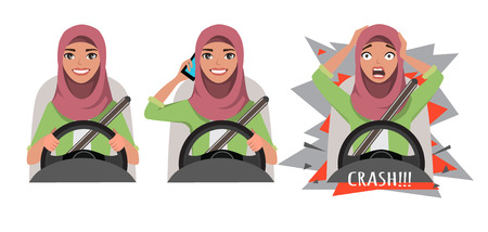 Arab woman driving a car. woman driving a car talking on the phone. The woman had an accident. crash. Arab woman clothing in casual clothes. Vector illustration.