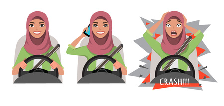 Arab woman driving a car. woman driving a car talking on the phone. The woman had an accident. crash