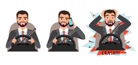 De man heeft een ongeluk gehad. Mens die mobiele telefoon houdt terwijl het drijven van auto, close-up. Vector illustratie Stock Illustratie