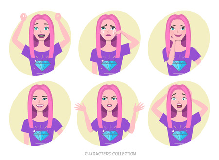 Girl teenager in fashionable clothes ultra violet colors. Set of emotions and gestures to the young teenager. Girl in a different mood. Childrens emotions, woman in everyday life. Vector illustration.