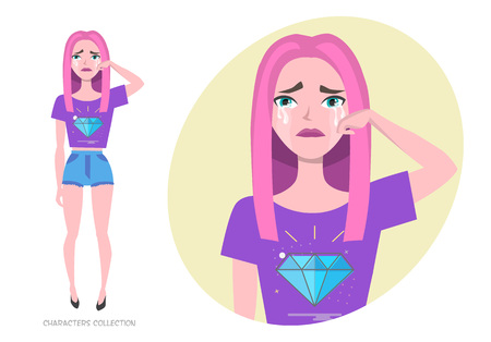 Crying Girl teenager in fashionable clothes ultra violet colors wipe tears from her face. Woman in casual cloth crying. Depression in the modern world. The grief and disappointment.